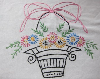 vintage embroidered  1930s 40s cushion cover , basket embroidery, vintage decor, country cottage, hand embroidery