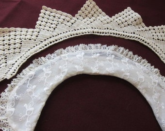 FRENCH vintage lace COLLAR 2 juvenile 1940s two, vintage dressmaking, junior dress, baby clothes