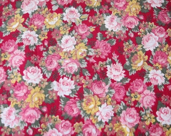 ROSE quilt cotton , Joan Kessler fabric,  romantic cottpn,roses quilt, pink floral cotton fabric, quilting supply, remnant, quilting destash