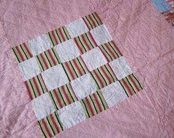 vintage quilt 1940s pink 25 patch, vintage patchwork, pink quilt, 40s decor, vintage bedroom, girls quilt