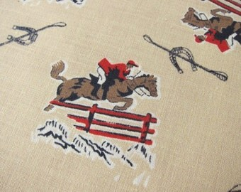 HORSE jumping Lot 100 pieces vintage cotton  equestrian motif 40s 50s