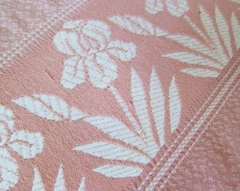 Pink  vintage bedspread, Vintage 50s bedspread , shabby cottage chic, pink iris, cotton bedcover, woven bedspread