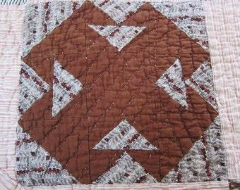 Antique quilt c 1850  T design cutter quilt restore antique bed cover 19th century blanket