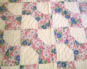 antique v quilt floral BOW TIE 1930s