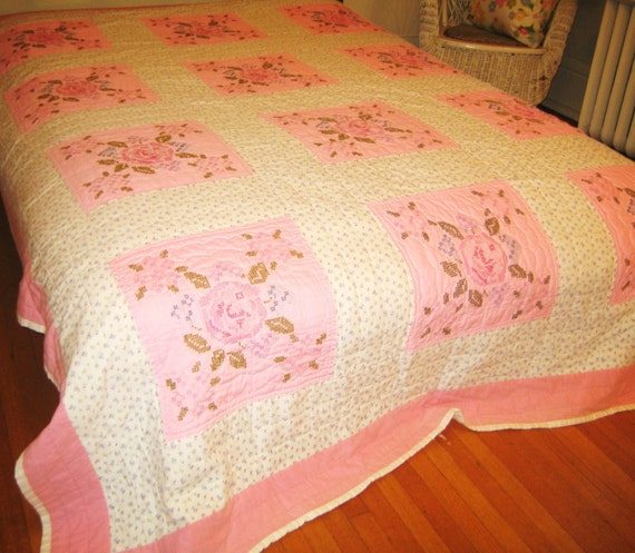 Reserved for angela vintage quilt embroidered bedspread