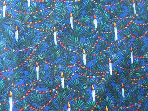CHRISTMAS  vintage QUILT cotton CANDLES blue