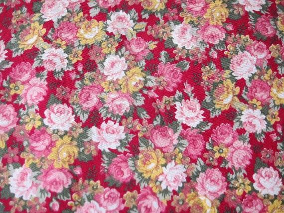ROSE quilt cotton , Joan Kessler fabric,  romantic cottpn,roses quilt, pink floral cotton fabric, quilting supply, remnant, quilting destash
