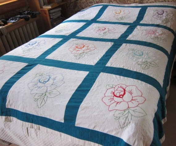 Vintage Quilt 1940s Teal Embroidered With Roses