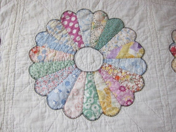 RESERVED for CLARE  1930s pastel quilt Dresden Plate feedsack