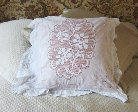 Vintage net lace and lawn boudoir cushion pillow cover