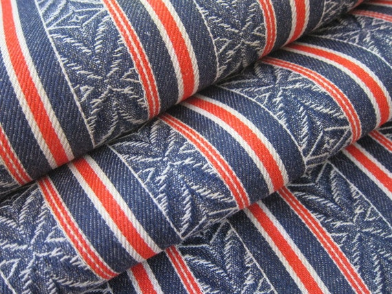 Vintage ticking woven red white and blue