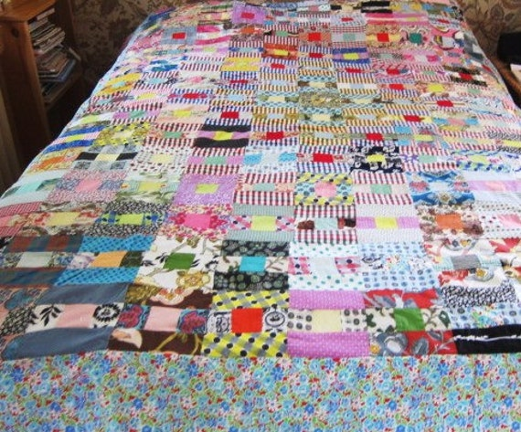1930s antique quilt top, vintage patchwork, vintage quilt topper 1930s, unfinished quilt,  colorful and interesting