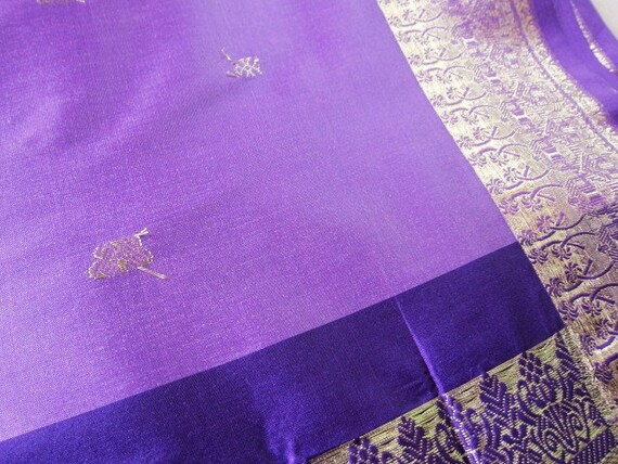 Indian sari fabric Amazing purple and lavender with gold weaving