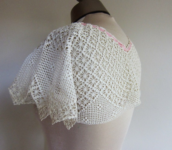Antique lace camisole hand crochet collar 1920s 30s