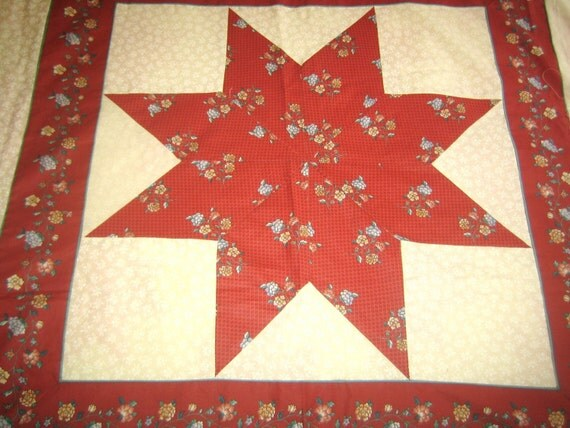 STAR quilt top Rust COTTON 70s