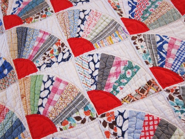 Antique Quilt 1930s Bright Fans Feedsack