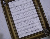 Antique Frame with Vintage Holiday Music and Vintage Upcycled Jewelry Accents