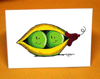 2 Peas in a Pod Blank Greeting Card w/ Astro Bright Envelope