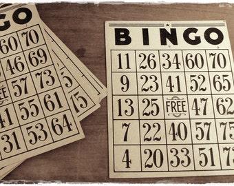 Cardboard  Vintage Bingo Card (5) * collage supplies * ephemera * vintage paper * games