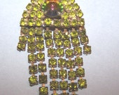 Fantastic Art Deco Citrine Rhinestosne Brooch