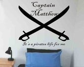 wall sticker decal personalized pirate crossed swords