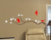 wall sticker decal cherry blossom tree branch with 3 birds