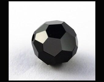 6mm Swarovski 5000 Round Crystal Beads - Jet - (24)