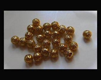 Filigree Round Beads - Gold Plated Brass - 10mm - (50)