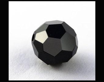 10mm Jet Swarovski Round Crystal Beads - (6)