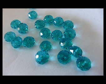 Aqua Saucer Crystal Beads - 12 x 9mm - (16)