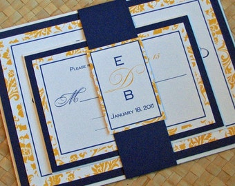 Damask Wedding Invitation in Yellow and Blue