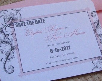 Vintage Pink and Grey Save the Date, Damask Save the Date Card, Pink and Grey Save the Date Card