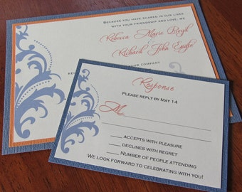 Damask Accent Wedding Invitation, Blue and Peach Invitation, Vintage Wedding Invitation