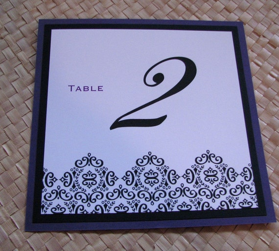 Table Number with Damask Embellishment