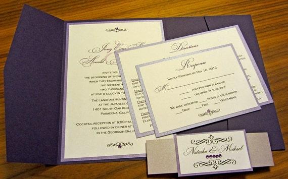 Shades Of Purple Pocketfold Wedding Invitation