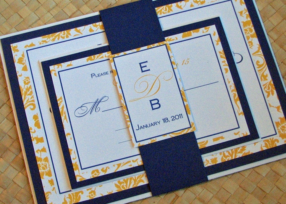 Cobalt Blue Wedding Invitations: Damask Wedding Invitation In Yellow And Blue