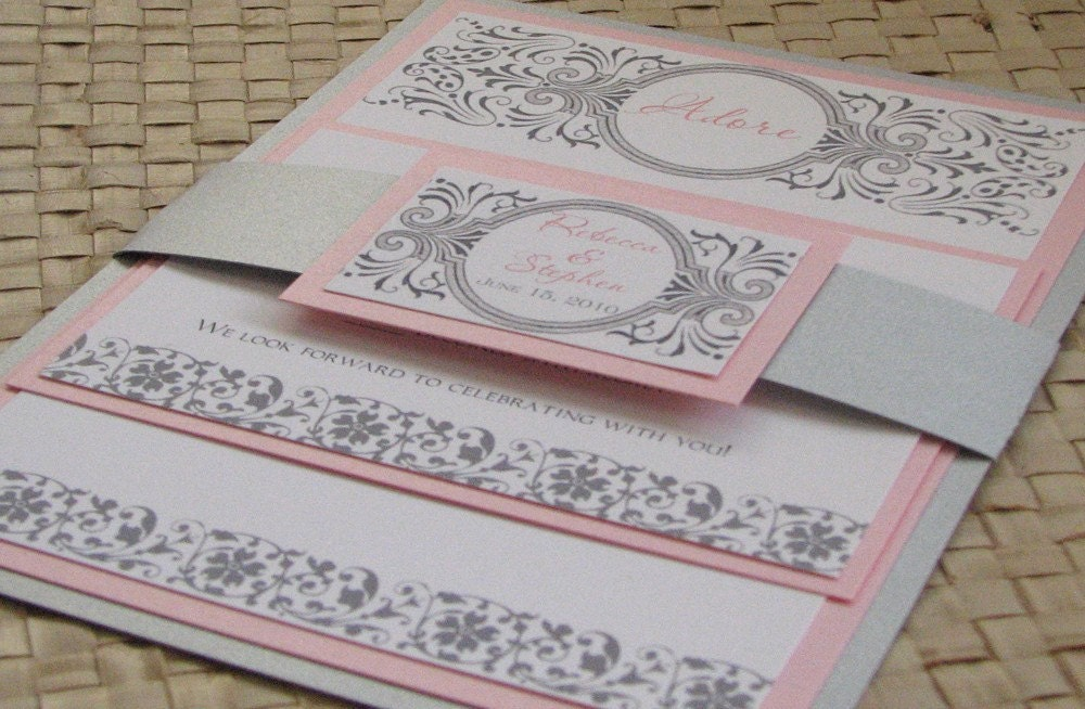 Red Black And Silver Wedding Invitations: Damask Pink And Silver Wedding Invitation