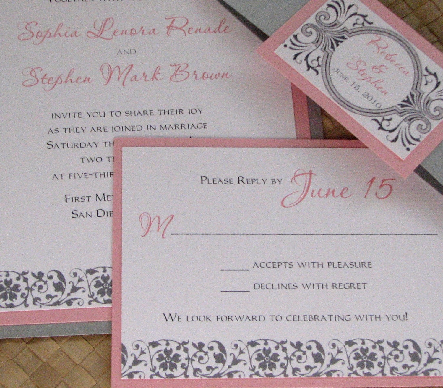 Silver Wedding Invitations: Damask Pink And Silver Wedding Invitation