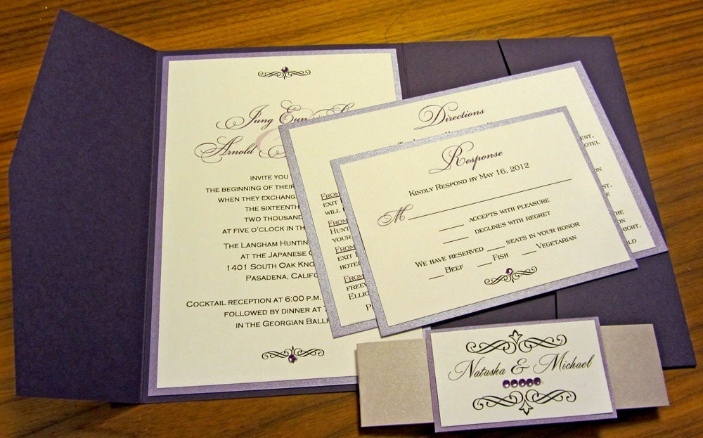 Shades of Purple Pocketfold Wedding Invitation