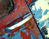 Old Car Door, Photograph, Red White Blue, Rusty Metal, Abstract Art, Garage Decor, Antique, Old Milk truck, Americana, Man Cave Decor, metal