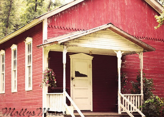 Rustic Photography, One Room School House, Little  Red School, Country Home Decor, Primitive Print, Pennsylvania Historic  Art, Teacher Gift