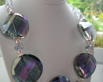 Shades of Grey Sparkling Crystal Necklace and Earring Set