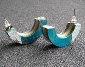 Skateboard Mini Ramp Stud Earrings - Blue Graffiti