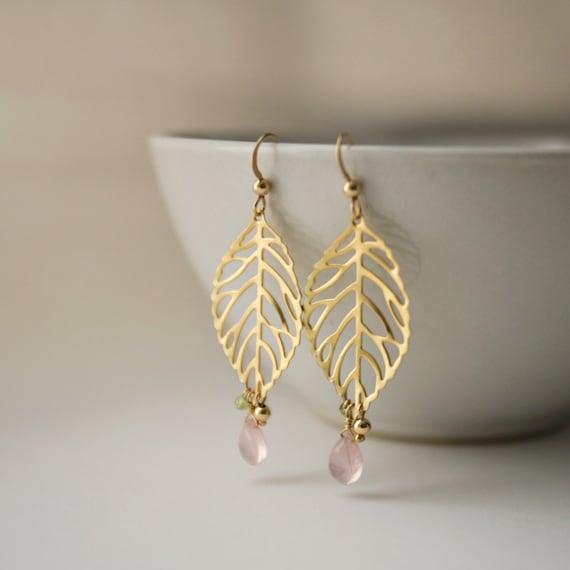 Ava - Gold  / Rose Quartz / Peridot Leaf Earrings