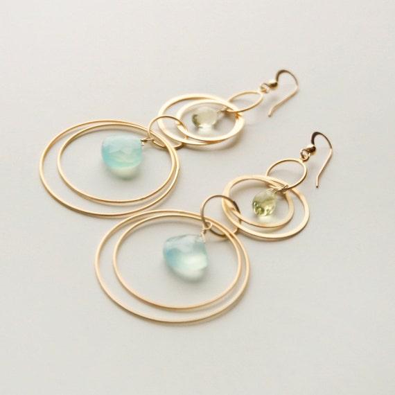 Estelle - Gold / Chalcedony / Lemon Topaz Statement Earrings