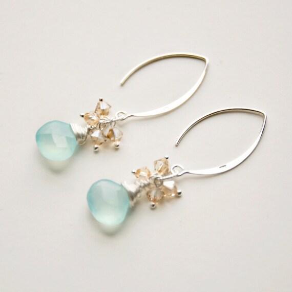 Twila - Sterling / Chalcedony / Crystal Dangle Earrings