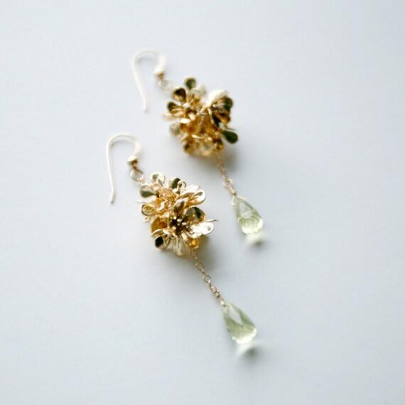 Flora - Shiny Gold / Prasiolite Dangle Earrings