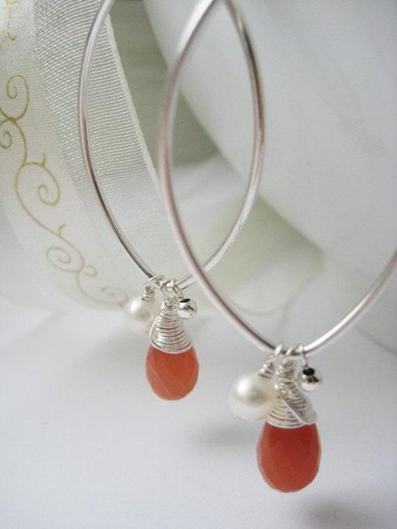 Lady Rouge - Long Sterling Silver Earrings w/ Gemstone