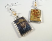 Van Gogh and Sunflowers Resin Altered Art Earrings