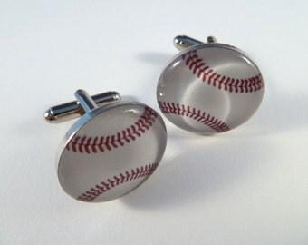 Baseball Resin Photo Art Cufflinks